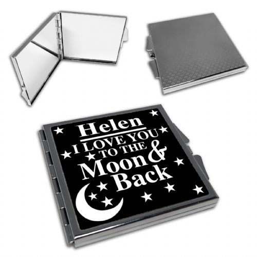 Personalised I Love You To The Moon & Back Square Compact Mirror - Black